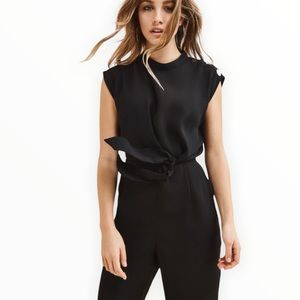 DYNAMITE Front Knot Black Hi-Waist Jumpsuit with Metal Detail and Pockets NWT